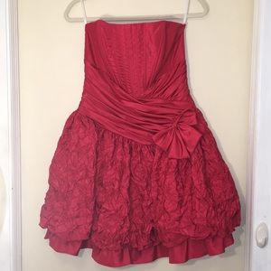 Jessica McClintock Red Strapless Party Dress